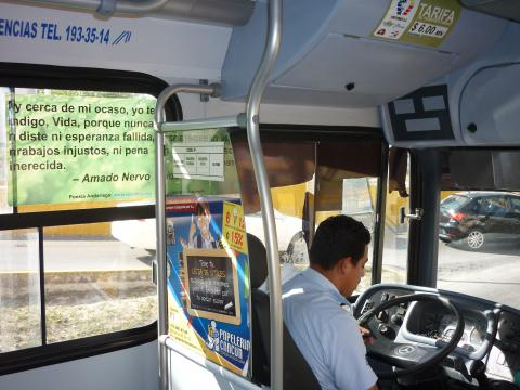 Poetry on the bus in Cancun, Mexico